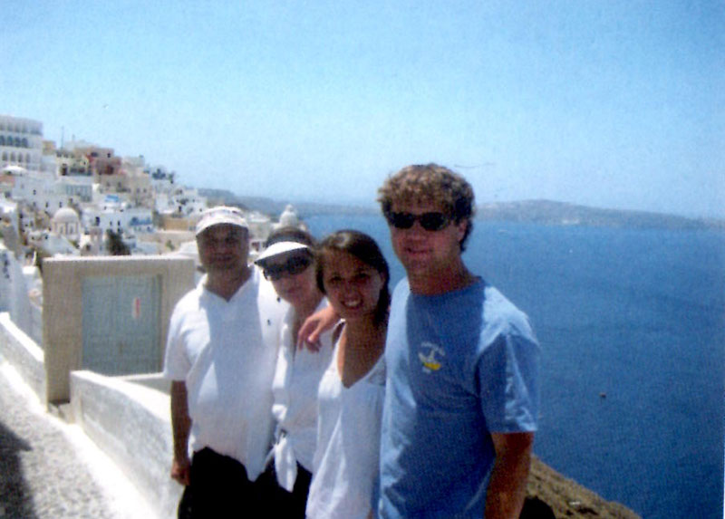 Nick and family on vacation in Greece