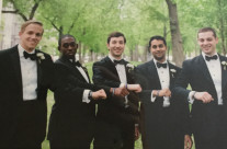 Danny,Touissant,Bryce,Rishav, Andrew at Bryce and Casey's wedding,  Boston, Mass .