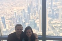 Mattie and Danny Wolf , at top of tallest building in the world, Dubai, United Arab Emirates